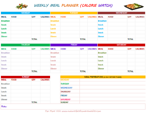 Printable Weekly Meal Planners With Grocery List – Printable Meal Planner